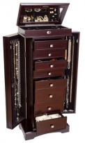 Wooden Jewelry Armoire in Rich Dark Walnut Finish