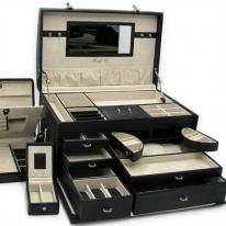 Luxury Black Leather Jewelry Box Trunk with 3 Take Away Travel Cases. Morelle Maylyn