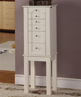 White 5 Drawer Jewelry Armoire
