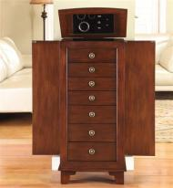 Lockable Jewelry Armoire - Walnut Floor Jewelry Cabinet with Lock