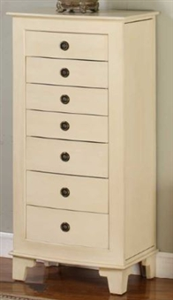 Cream colored Floor Jewelry Cabinet with Lock