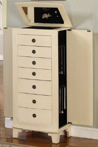 Locking Jewelry Armoire and Cabinet Cream