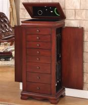 Locking Jewelry Armoires - Free Standing Jewelry Armoire with Lock - Cherry