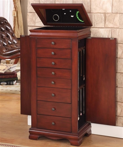 locking jewelry armoires free standing cherry. Black Bedroom Furniture Sets. Home Design Ideas