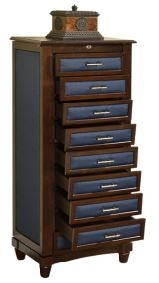 Large Cushion Side Jewelry Armoire, 9 Drawers
