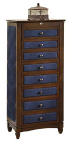 Cushion Side Design Jewelry Armoire, 8 Drawers