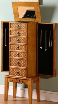 Tropical Stand Up Oak Jewelry Box Armoire