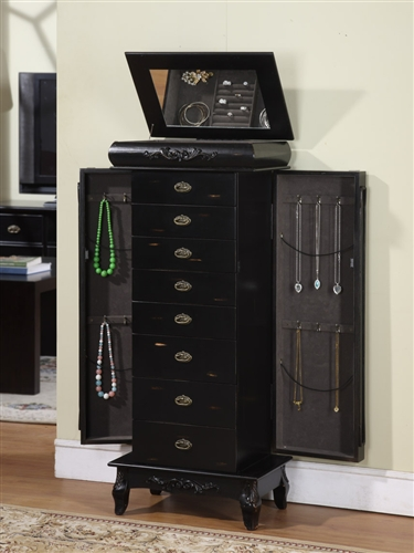 Large Black Antique Style Jewelry Armoire with Eight Drawers