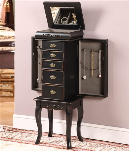 Distressed Black Antique Style Jewelry Armoire