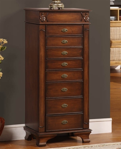 Tall Floor Standing Jewelry Cabinet with Eight Drawers