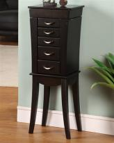 Contemporary Black 5 Drawer Floor Jewelry Armoire