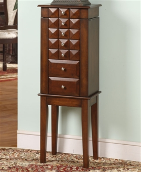 Walnut Jewelry Armoire Furniture. Unique Details and 6 Drawers