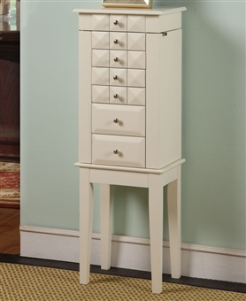 White Jewelry Armoire Cabinet with 6 Drawers and Modern Details.