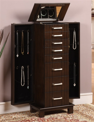 Large Modern Floor Standing Jewelry Cabinet Charging Station