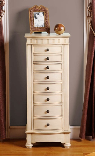 Beige Floor Standing Jewelry Box Cabinet