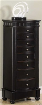 Large Jewelry Armoire with Eight Curved Drawers