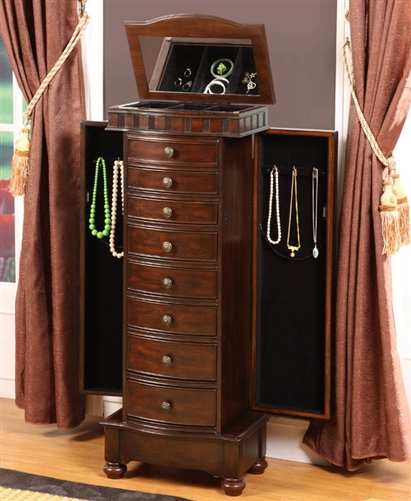 Large Modern Floor Standing Jewelry Cabinet with Eight Drawers