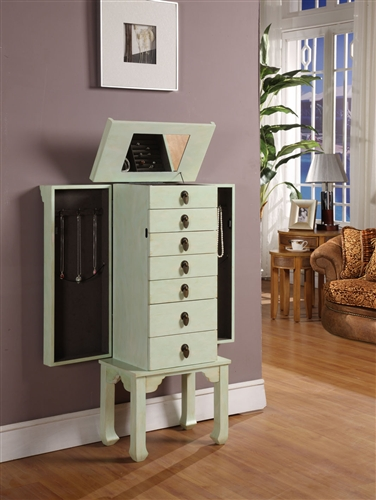 Ningbo Seven Drawer Rustic Green Jewelry Armoire Necklace Sides