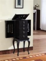 Ningbo Five Drawer Black Jewelry Armoire with Necklace Sides