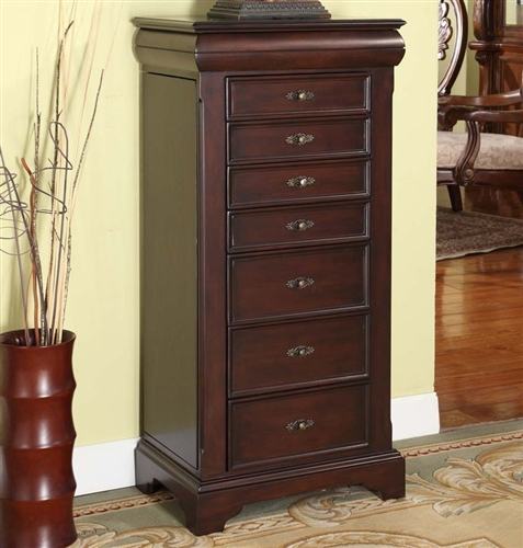 Large Locking Jewelry Armoire Espresso Finish