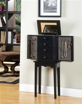 Four Drawer Standing Black Jewelry Armoire with Necklace Sides