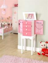 Four Drawer Standing Pink Jewelry Armoire with Necklace Sides