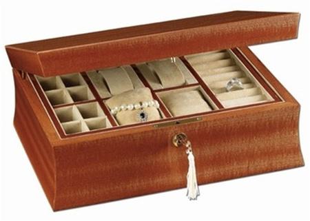 Locking Jewelry Box Natural Mahogany