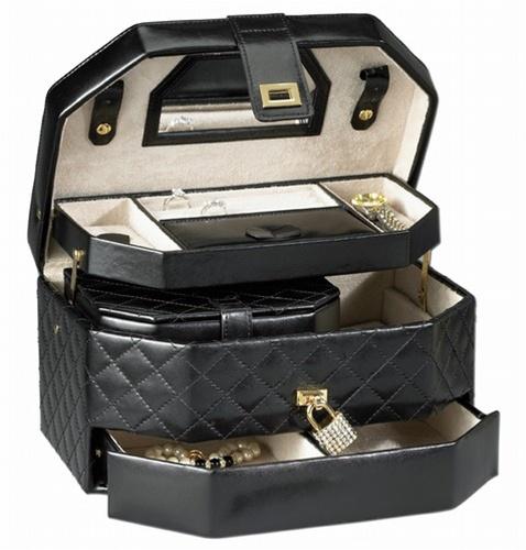 Black Leather Travel Jewelry Box Jewelry Box Lock