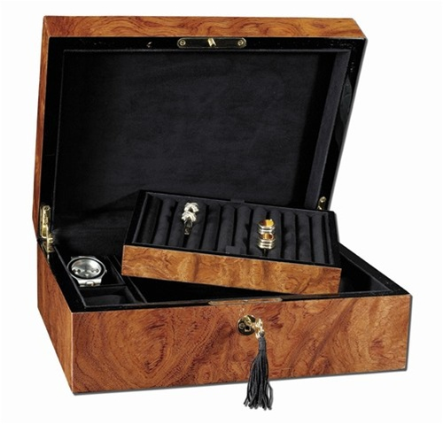 Bubinga Wood Jewelry Box with Lock