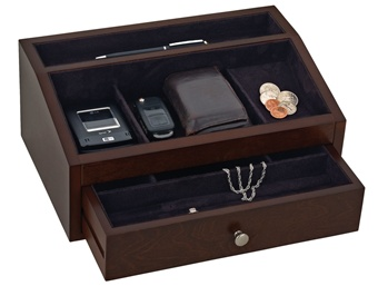 Mens Wooden Jewelry Box Valet With Drawer