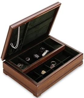 Mens Jewelry Box Mans Large Wooden Walnut Dresser Valet
