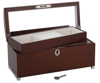 Lara's Theme Musical Jewelry Box with Curved Top and LockReed and Barton Walnut Jewelry Chest 630W