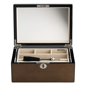 Fully Locking Womens Jewelry Box Maple Color