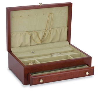 Reed & Barton Jewelry Chest: Jasmine Cherry Jewelry Chest Box 658CG