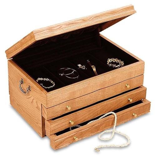 Large oak jewelry box wood jewelry chest ladies for Reed barton athena jewelry box