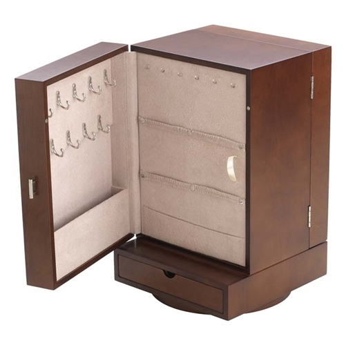 Revolving Jewelry Organizer Chest with Mirror