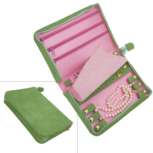 Pink and Green Suede Travel Jewelry Case
