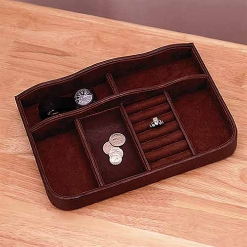 Mens Jewelry Box - Mans Leather Valet Tray - Dark Brown