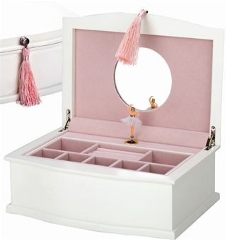 White Wood Ballerina Jewelry Box, Reed Barton Musical Chest with Ballerina M5645AP