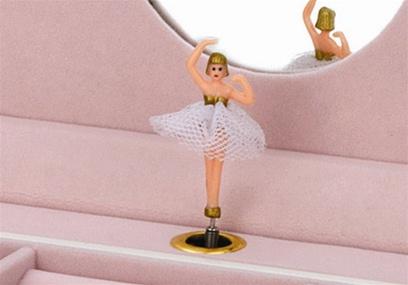 White Little Girls Wooden Ballerina Jewelry Box