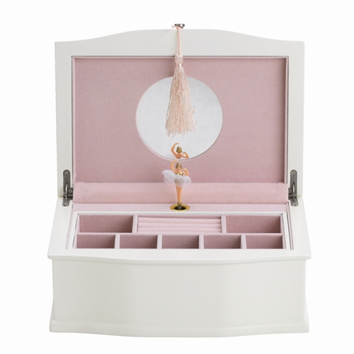 White Little Girls Wooden Ballerina Jewelry Box