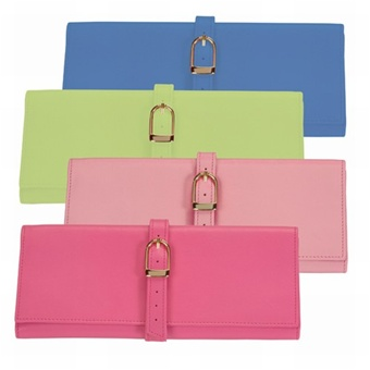 Genuine Leather Travel Jewelry Roll Wallet. Royce Leather - choose pink, green or blue travel case colors