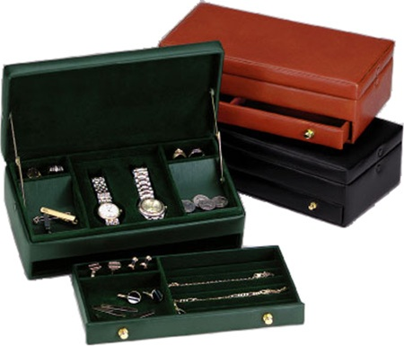 Menu0027s Leather Jewelry Box - Leather Watch Valet in Black Cocoa or Tan  sc 1 st  Chasing Treasure & Menu0027s Leather Jewelry Box - Leather Watch Valet Aboutintivar.Com