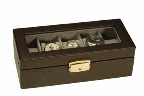 Leather Watch Box Black or Brown 5 Watch Holder Jewelry Case