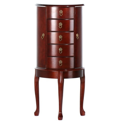 Large Cherry Queen Anne Bombay Jewelry Armoire