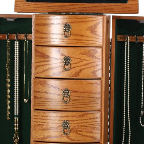 Large Oak Queen Anne Bombay Jewelry Chest