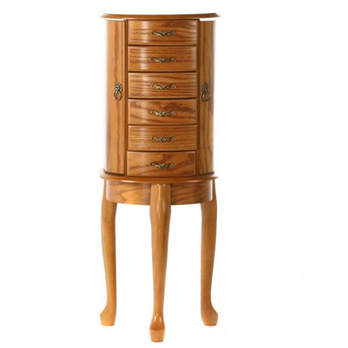 Jewelry Armoire Floor Standing Queen Anne Design