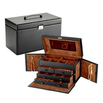 Huge Black Bonded Leather Jewelry Box Train Case with Lock.