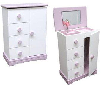 Ballerina Jewelry Music Box  Ballerina Armoire Wood White and Pink