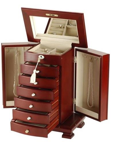 Locking Cherry Jewelry Box Locked Jewelry Chest Armoire